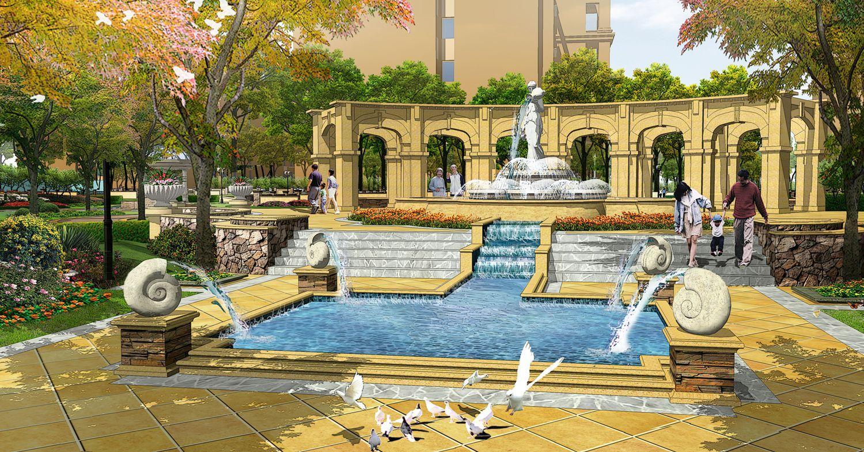 """榆林""""帕提欧公馆""""居住区景观设计"""